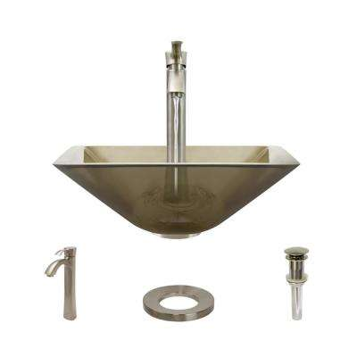 Glass Vessel Sink in Cashmere with R9-7006 Faucet and Pop-Up Drain in Brushed Nickel