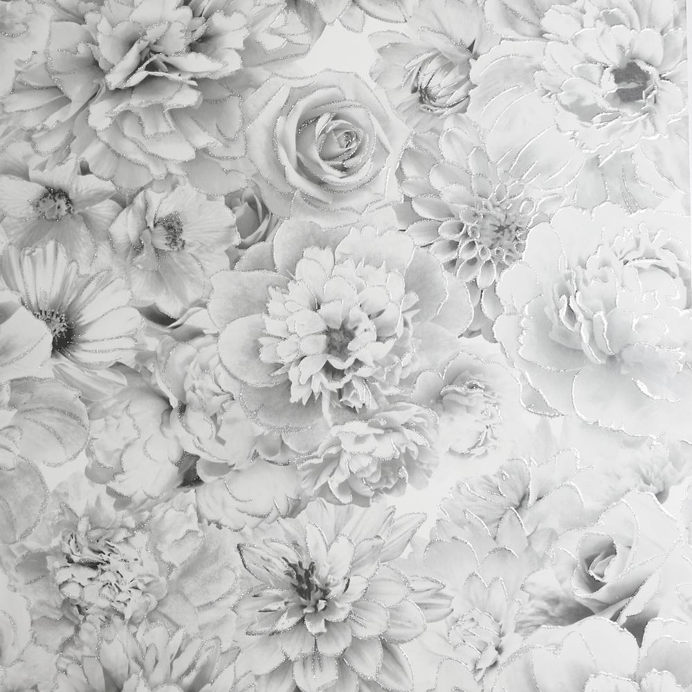 Glitter Bloom Silver Wallpaper