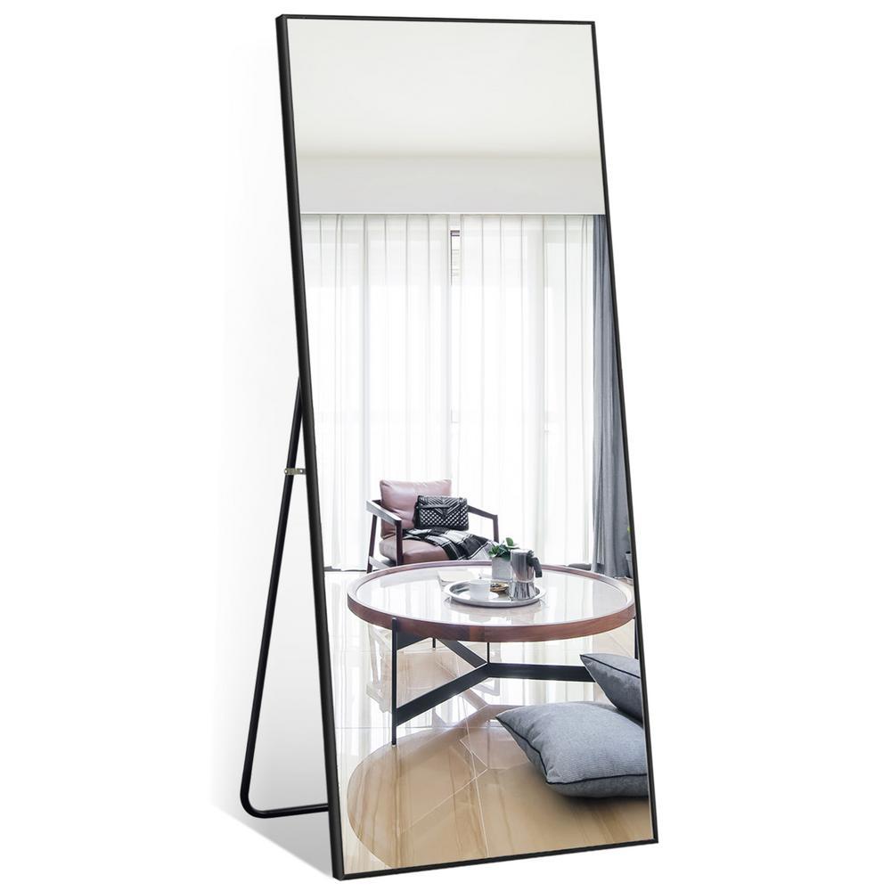 59 in. x 20 in. Modern Rectangle Shape Metal Framed Black Standing Mirror Full Length Floor Mirror Bedroom Living Room