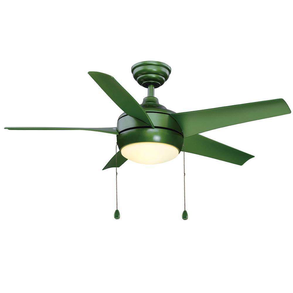 Windward 44 in led green ceiling fan with light kit