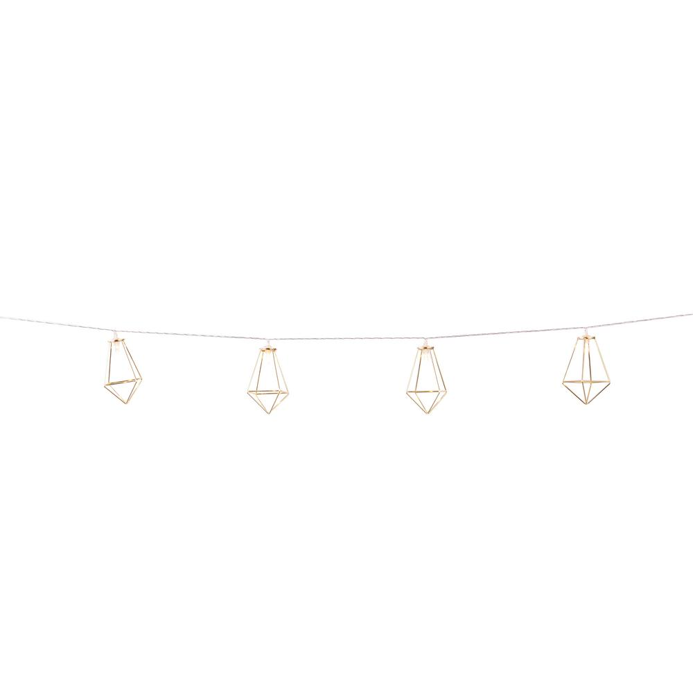 10-Light Gold Quadrangle LED String Light
