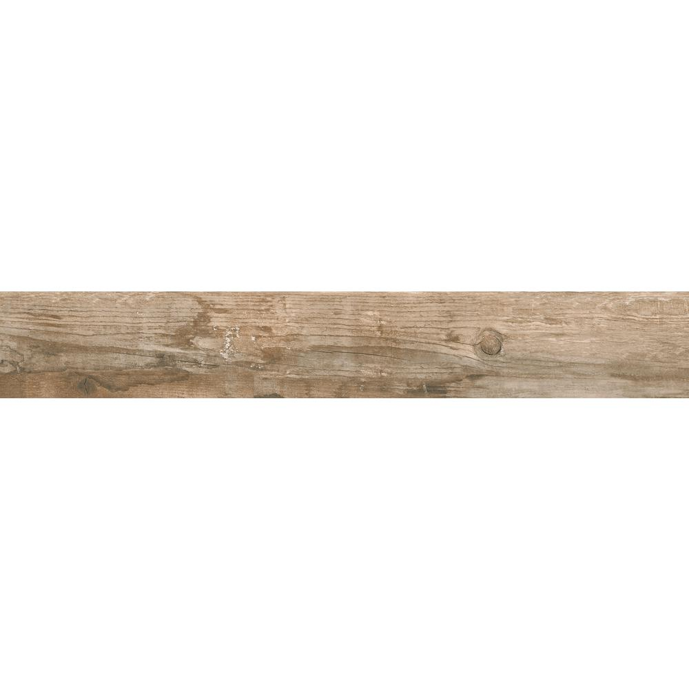 Salvage Brown 6 in. x 40 in. Glazed Porcelain Floor and