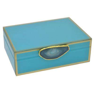 Green Glass Box with Agate Stone
