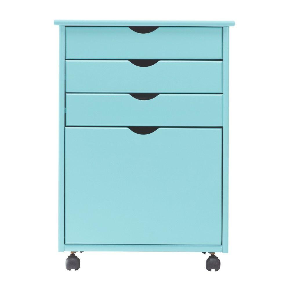 Home Decorators Collection Stanton 20 inch W 4-File Storage Cart in Blue by Home Decorators Collection