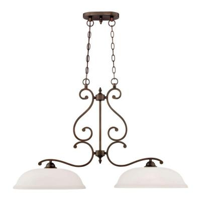 2-Light Rubbed Bronze Island Light with Etched White Glass