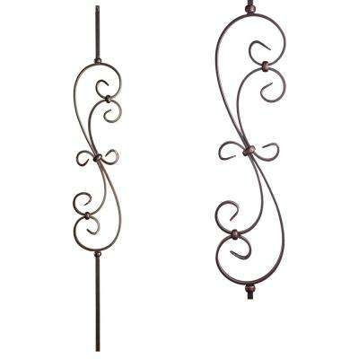 Scrolls 44 in. x 0.5 in. Oil Rubbed Copper Large Spiral Scroll Hollow Wrought Iron Baluster