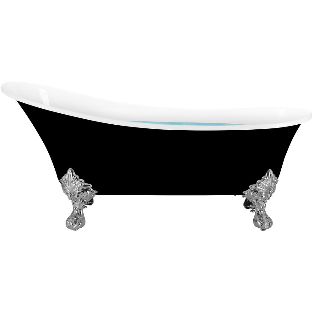 AKDY 69 in. Acrylic Double Slipper Clawfoot Non-Whirlpool Bathtub in Glossy Black was $1049.0 now $599.99 (43.0% off)