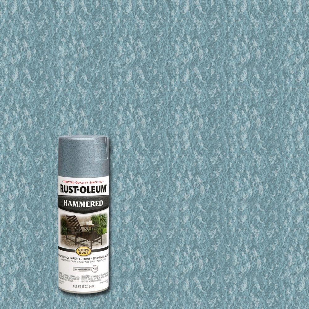 Rust-Oleum Stops Rust 12 oz. Hammered Light Blue Protective Spray Paint (6-Pack)