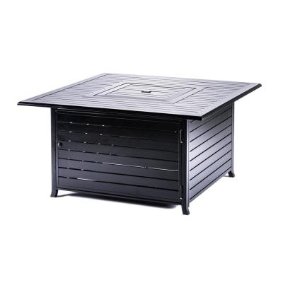 44.88 in. x 24 in. 50,000 BTU Square Aluminum Propane Fire Pit in Hammered Black with Table Lid and Cover