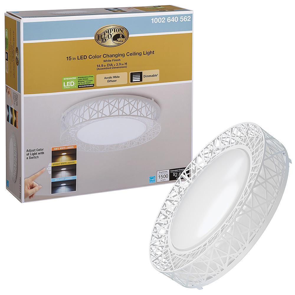 Birds Nest Design 15 in. Round White Selectable LED Flush Mount Ceiling Light 1500 Lumens Dimmable 3000K 4000K 5000K