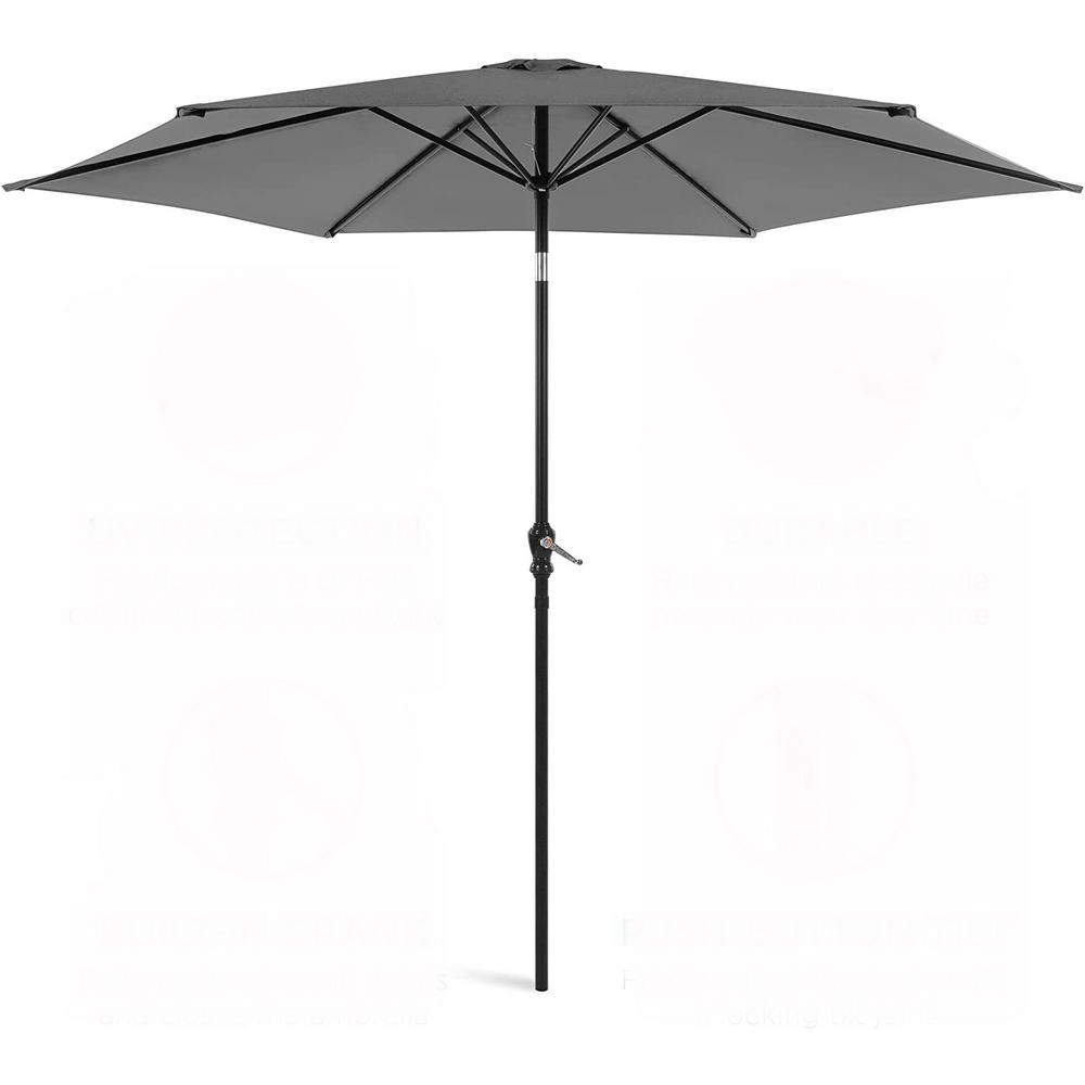 11 ft. Market Tilt Outdoor Patio Garden Canopy Backyard Umbrella in Gray