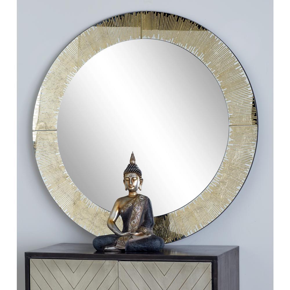 Round Gold Dresser Wall Mirror