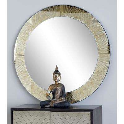 Round Gold Dresser Wall Mirror