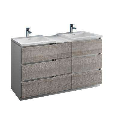 Lazzaro 60 in. Modern Double Bathroom Vanity in Glossy Ash Gray, Vanity Top in White with White Basins
