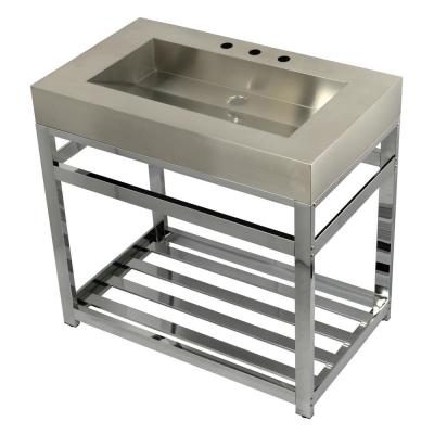 37 in. W Bath Vanity in Chrome with Stainless Steel Vanity Top in Silver with Silver Basin