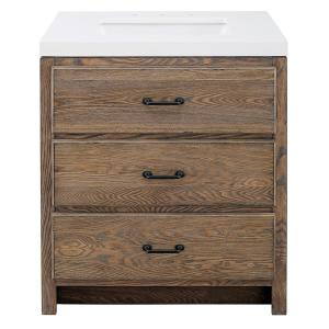 Goldsboro 30 in. W x 22.5 in. D Vanity Cabinet in Weathered Oak with Engineered Stone Vanity Top in Crystal White