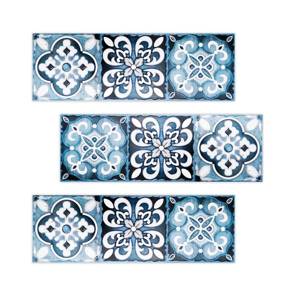 Kantu Topaz 4 In X 12 In Blue Ceramic Decorative Listello Wall Tile 3 Pack 2112012 The Home Depot