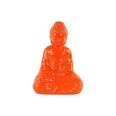 12.5 in. H Buddha Decorative Figurine in Orange Gloss Finish