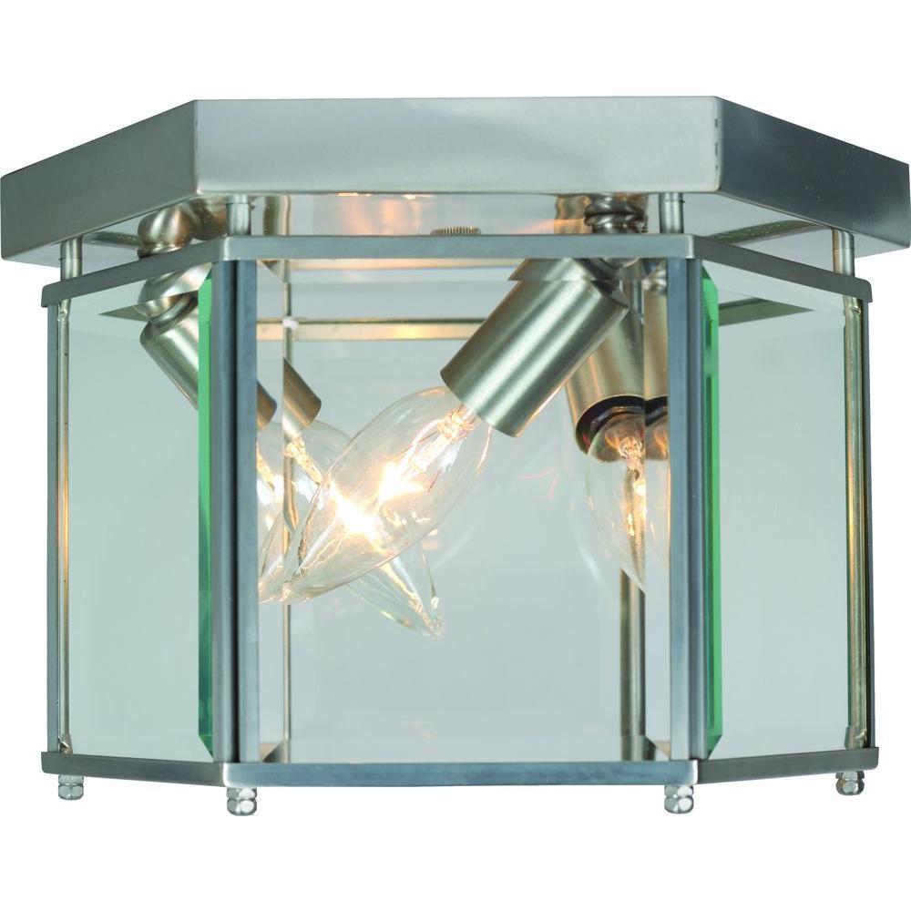 3-Light Brushed Nickel Flushmount