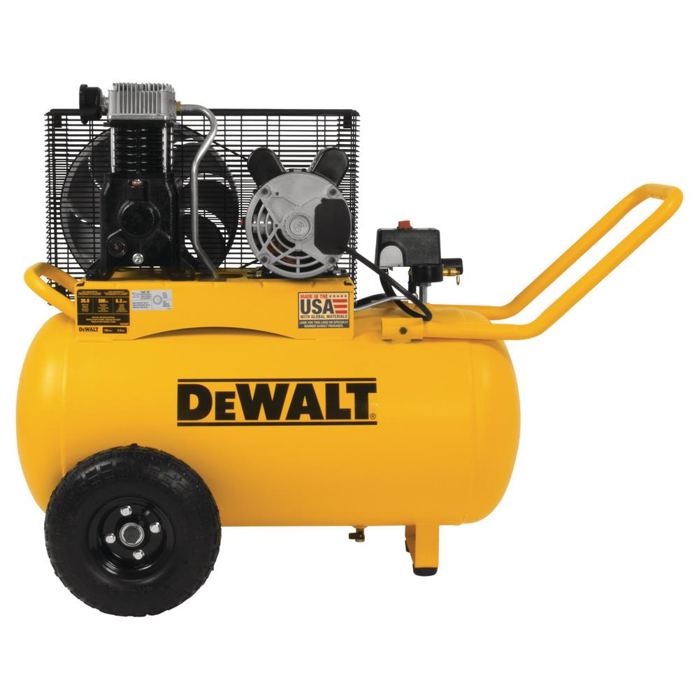 DeWalt DEWALT 20 Gal. 200 PSI Oil Lubed Belt Drive Portable Horizontal Electric Air Compressor