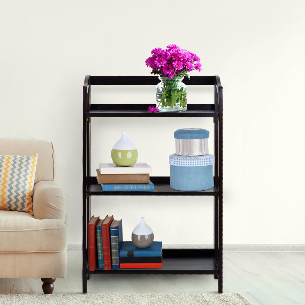 Stratford Espresso 3-Shelf Folding Bookcase