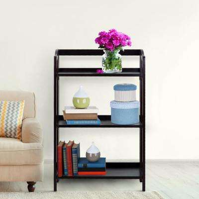 Stratford Espresso 3-Shelf Folding Bookcase