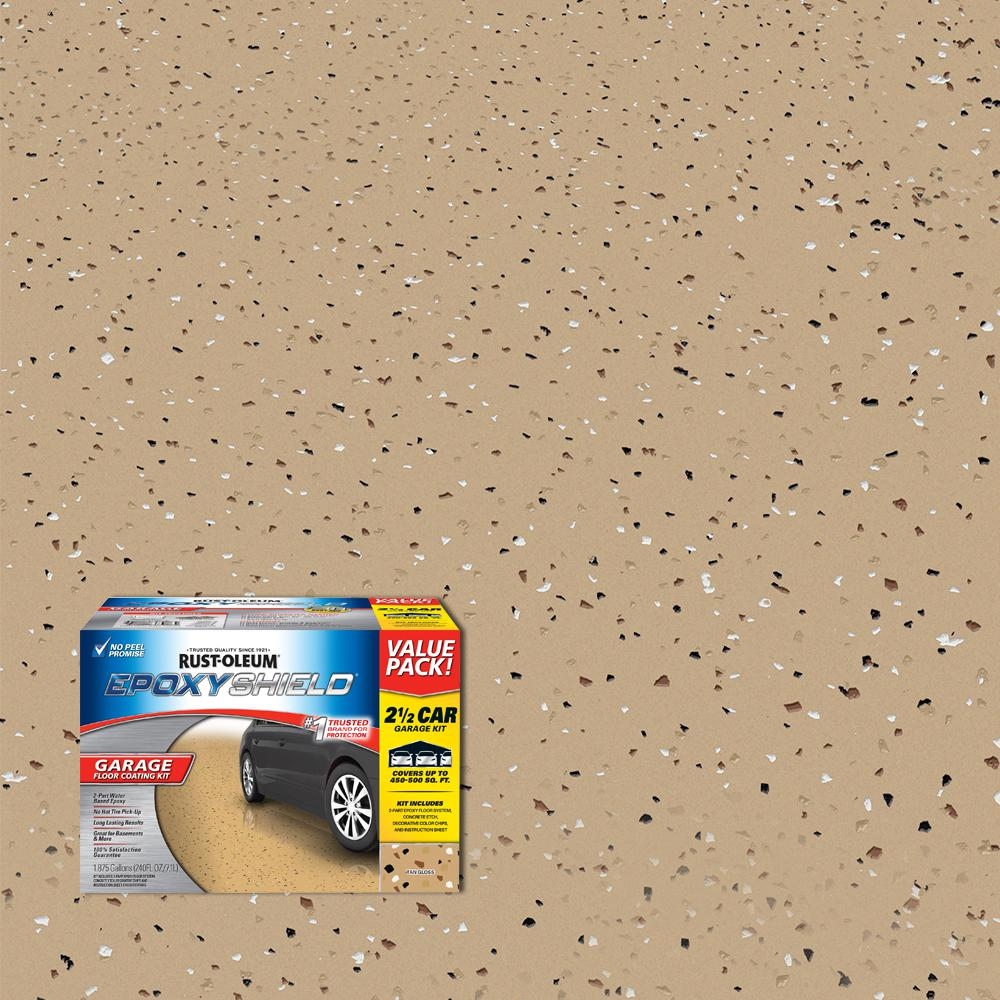 Rust-Oleum EpoxyShield 240 oz. Tan High-Gloss 2.5 Car Garage Floor Kit