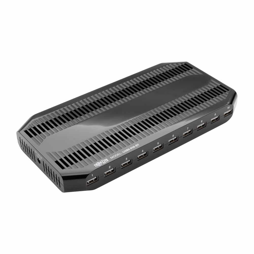 10-Port USB Charging Station with Adjustable Storage, 12V 8A (96W) USB Charger Output, Black