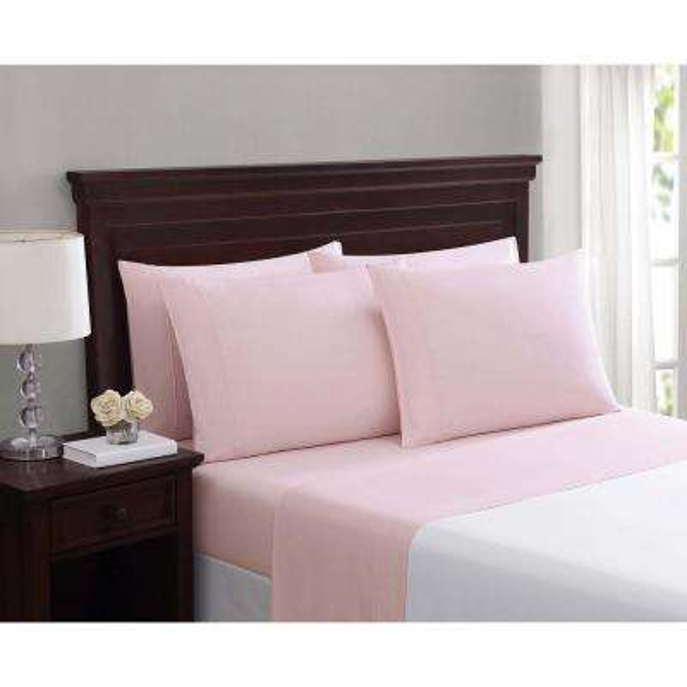 Everyday Cotton Blend Sheet Sets Blush Pink 6-Piece King Sheet Set