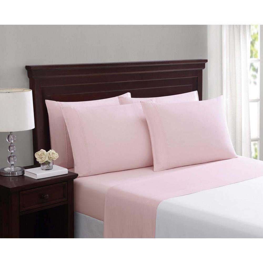 Everyday Cotton Blend Sheet Sets Blush Pink 6-Piece Queen Sheet Set