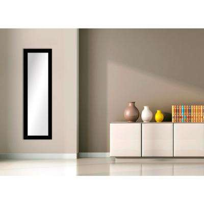 51.5 in. x 15.5 in. Wood Grain Black Framed Mirror