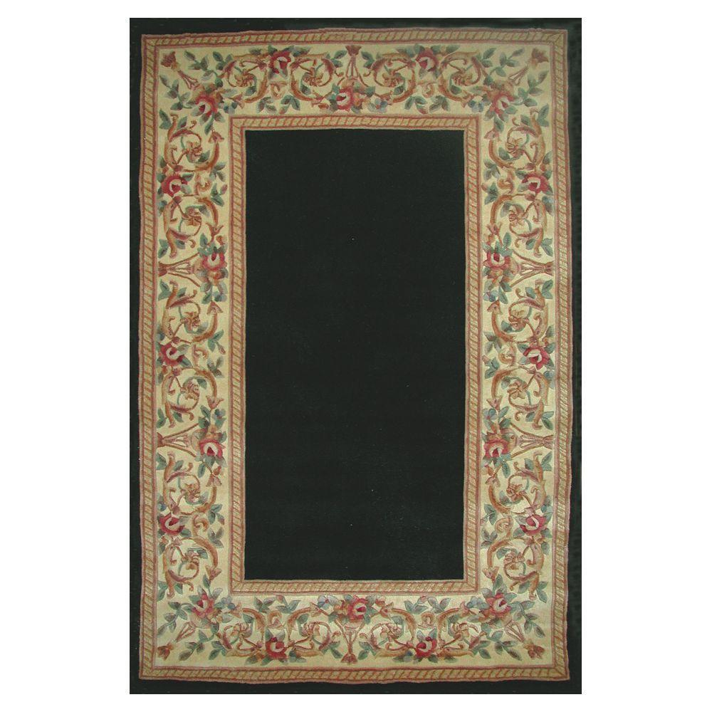 Lush Floral Border Black 2 ft. 6 in. x 4 ft.