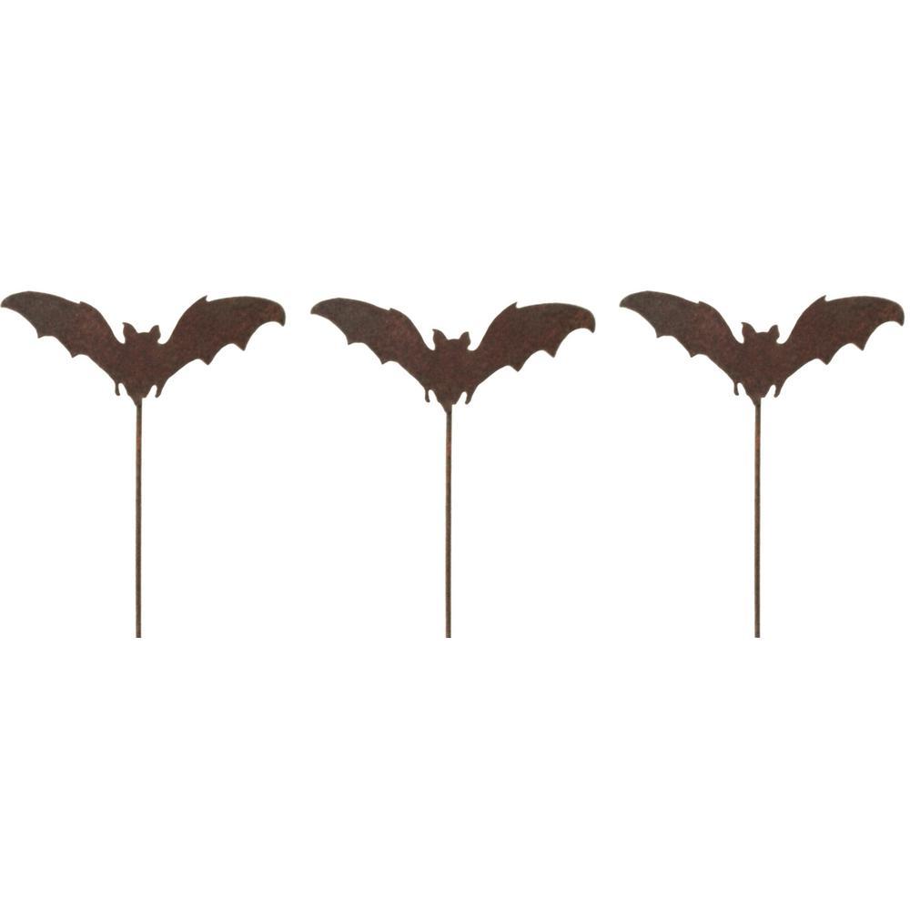 20 in. Tall Metal Rustic Look Artwork Landing Bat Picks for Plants (Set of 3)