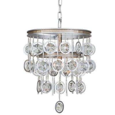 Charmed 3-Light Silver with Champagne Mist Chandelier with Clear Crystal Beads