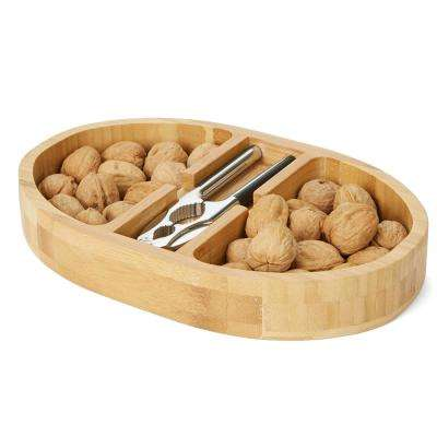 Brown Bamboo Nut Cracker Bowl Set with Stainless Steel Metal Nut Cracker, Brown