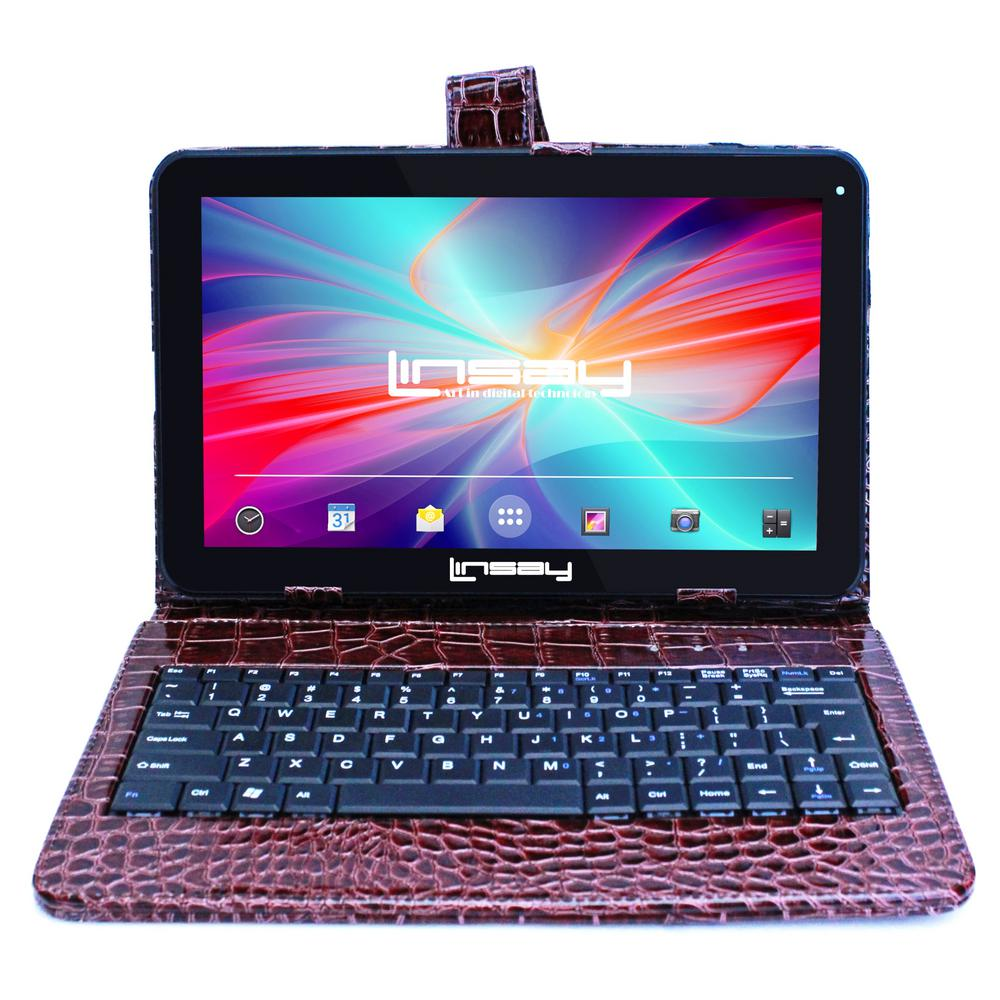 LINSAY 10.1 in. 2GB RAM 16GB Android 9.0 Pie Quad Core Tablet with Brown Crocodile Keyboard was $199.99 now $89.99 (55.0% off)