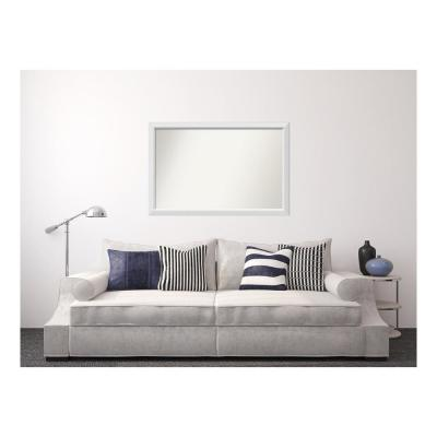 Medium Rectangle White Modern Mirror (33 in. H x 50 in. W)