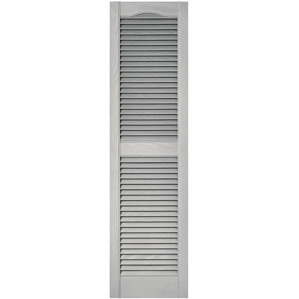 Builders Edge 15 in. x 55 in. Louvered Vinyl Exterior Shutters Pair ...