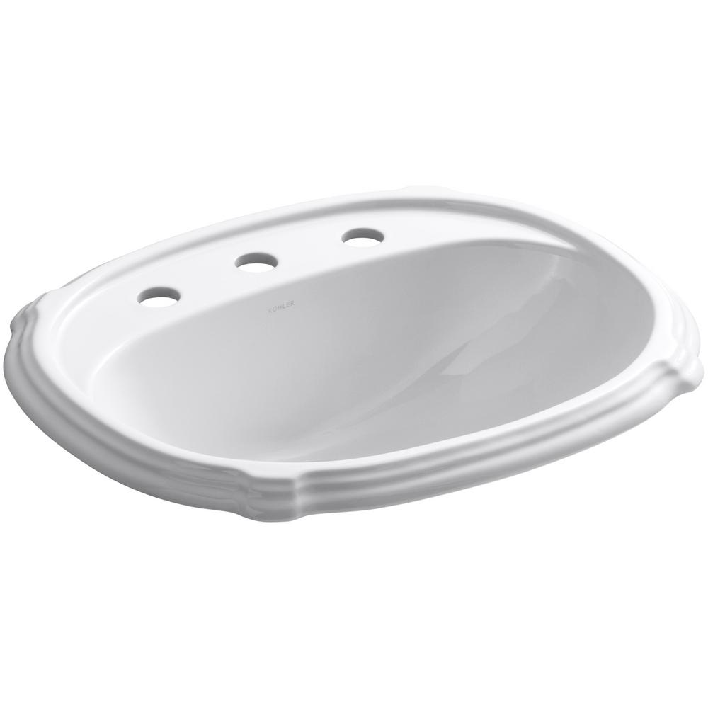 KOHLER Portrait Ceramic Drop-In Bathroom Sink in White with Overflow on bathroom sink with water, bathroom sinks kohler toilet colors, bathroom vanity wall mirror, bathroom fixtures by kohler, bathroom drop in sink closeout,