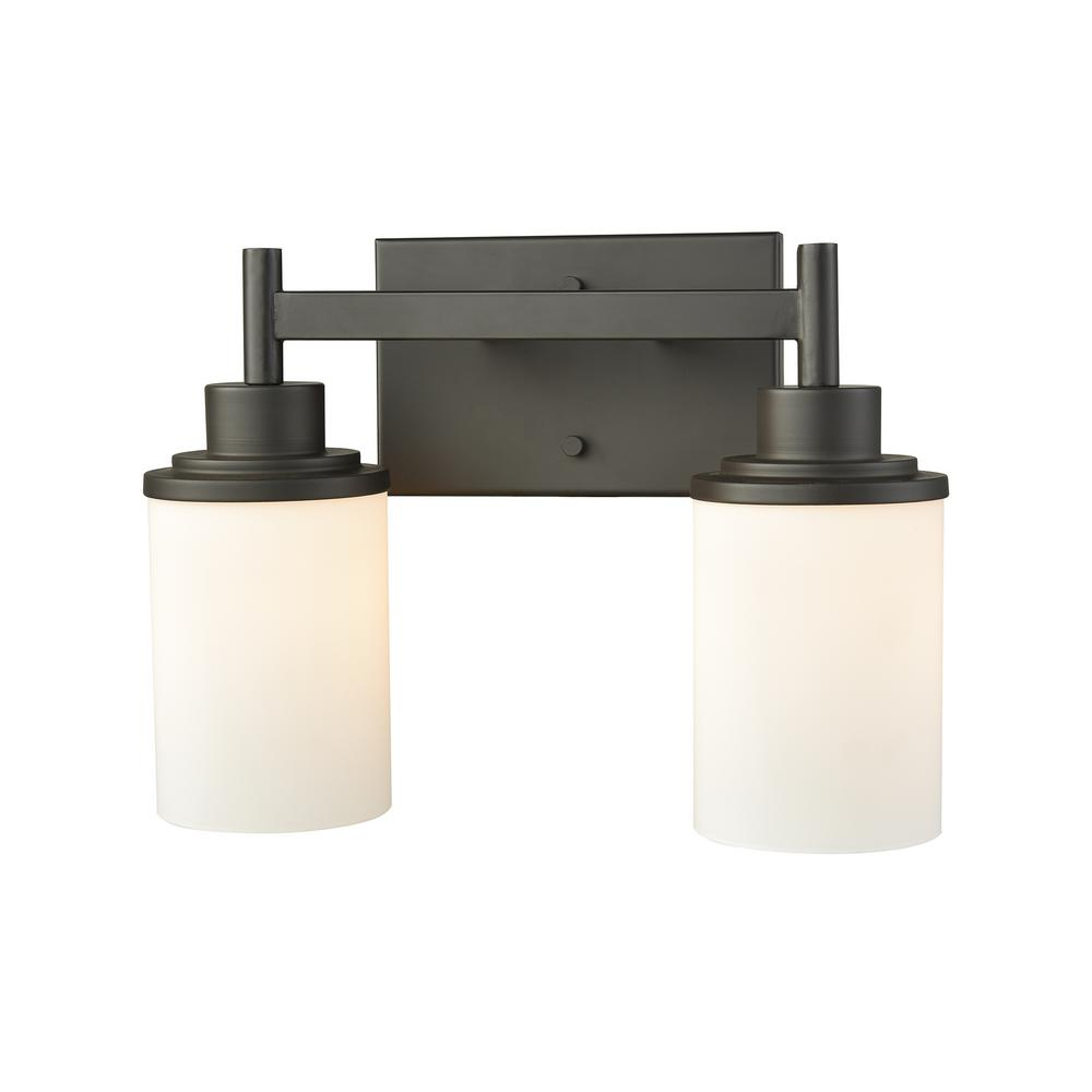 Thomas lighting lighting the home depot belmar 2 light oil rubbed bronze with opal white glass bath light arubaitofo Image collections