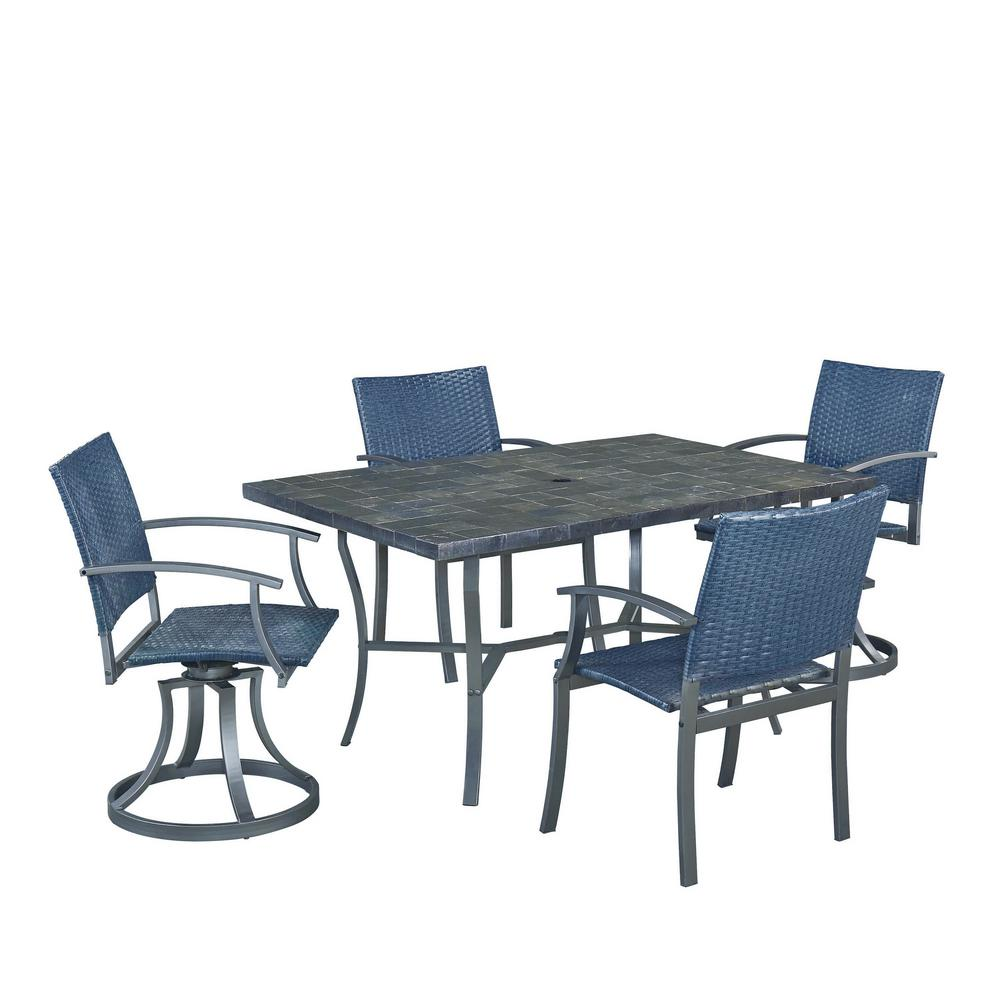 Home styles stone veneer 5 piece patio dining set 6000 3158 the home depot - Types veneers used home furniture ...