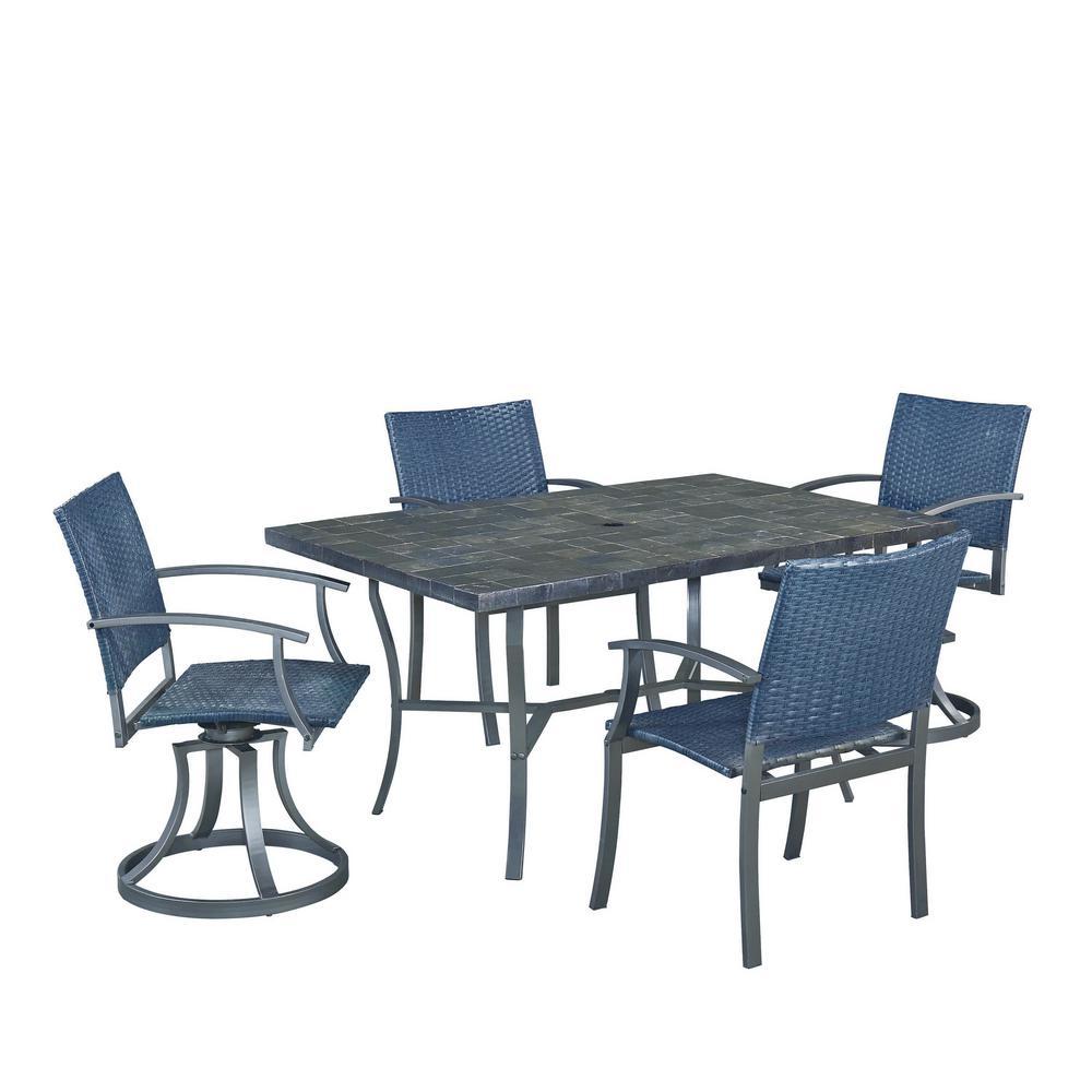 Stone Veneer 5-Piece Patio Dining Set