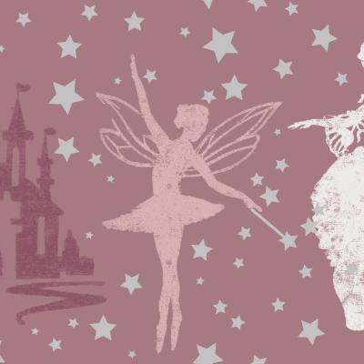 Kids Princess Soft Pink and Metallic Silver Self-Adhesive Removable Borders and Stripes