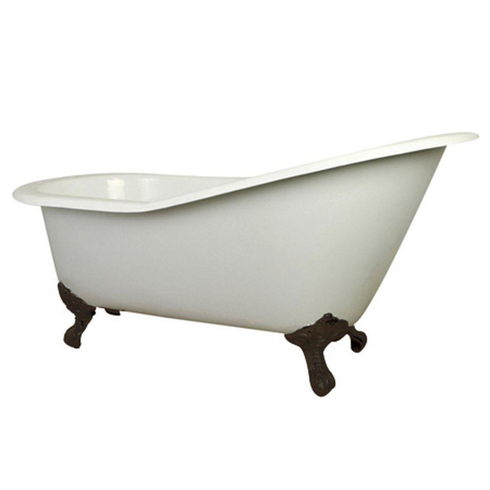 Cast Iron Oil Rubbed Bronze Claw Foot Slipper Tub With 7