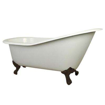 5 ft. Cast Iron Oil Rubbed Bronze Claw Foot Slipper Tub with 7 in. Deck Holes in White