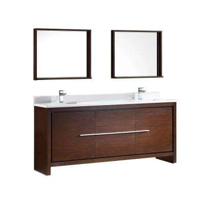 Allier 72 in. Double Vanity in Wenge Brown with Glass Stone Vanity Top in White and Mirror