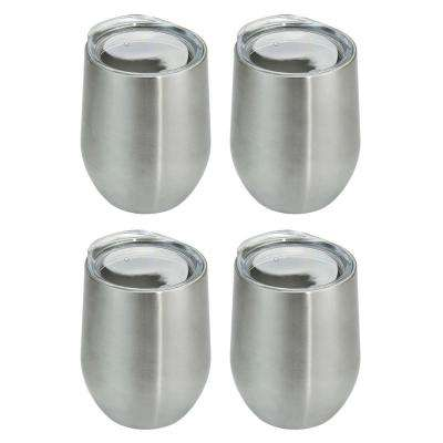 4-Piece Stainless Stemless Double Wall Wine Glass Set