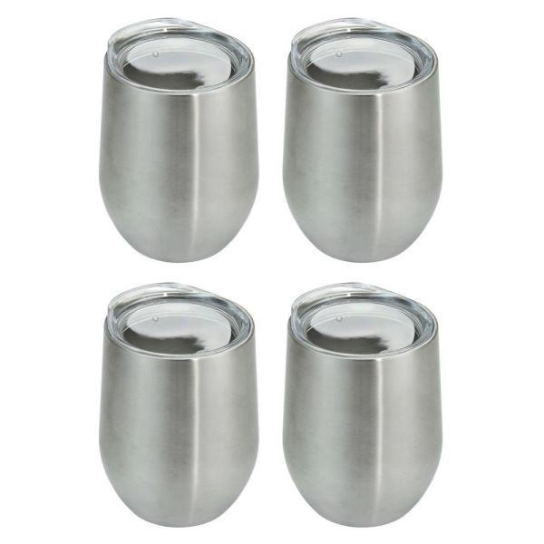 4fd7dce39fd Southern Homewares 4-Piece Stainless Stemless Double Wall Wine Glass Set