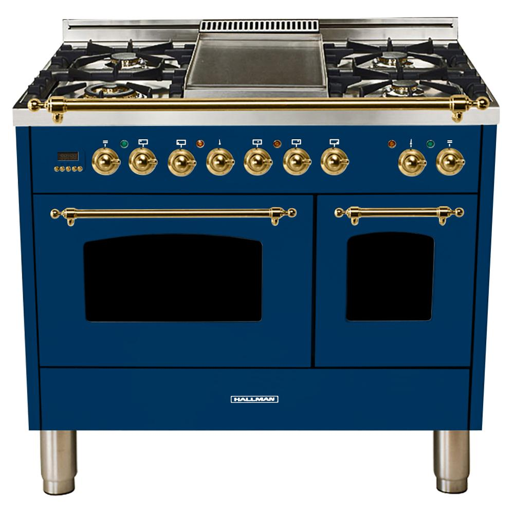 Hallman 40 in. 4.0 cu. ft. Double Oven Dual Fuel Italian Range with True Convection, 5 Burners, Griddle, Brass Trim in Blue
