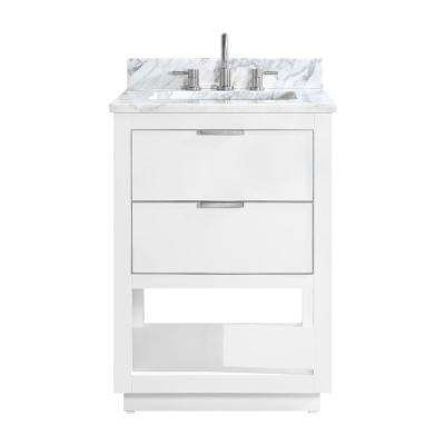 Allie 25 in. W x 22 in. D Bath Vanity in White with Silver Trim with Marble Vanity Top in Carrara White with White Basin